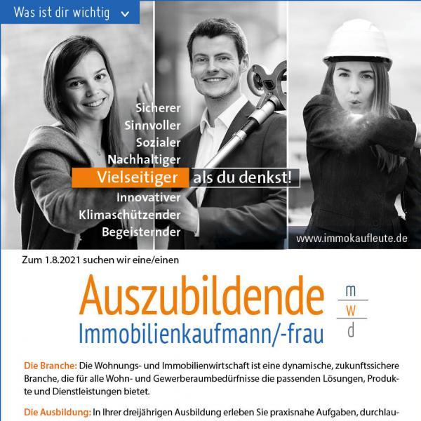Ausbildung zum Immobilienkaufmann/-frau bei unserer Genossenschaft zum 01.08.2021